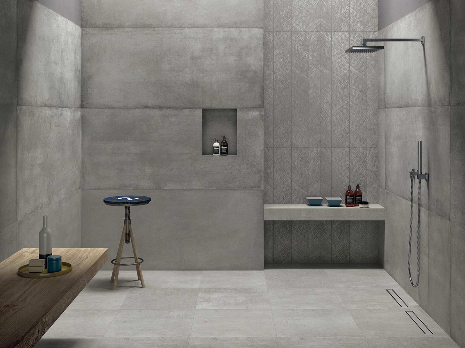 Dusche in betonoptik aus grossformatigen keramikplatten granimor - Betonoptik wand bad ...